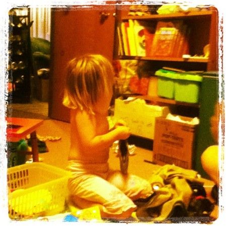 Cleaning her room.  Instagram
