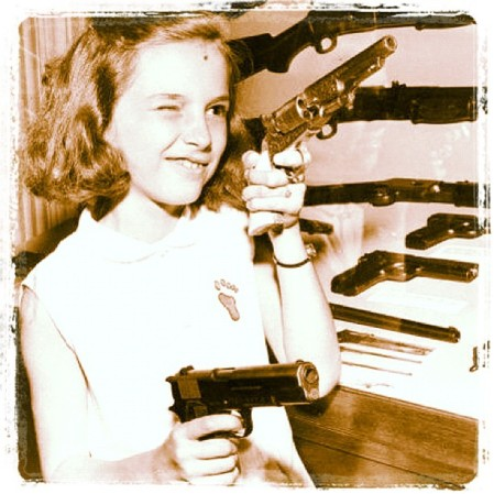 There is something wrong with this picture. Oh... the child with a boat load of guns.  Instagram