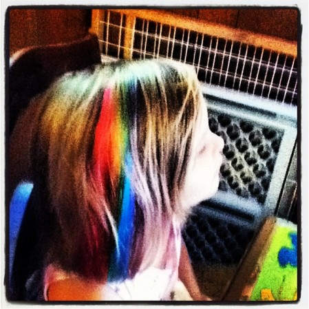 Colored hair extenisions.  Instagram