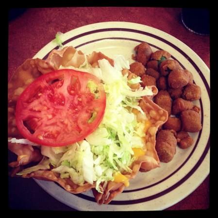 Taco salad and okra!  Instagram