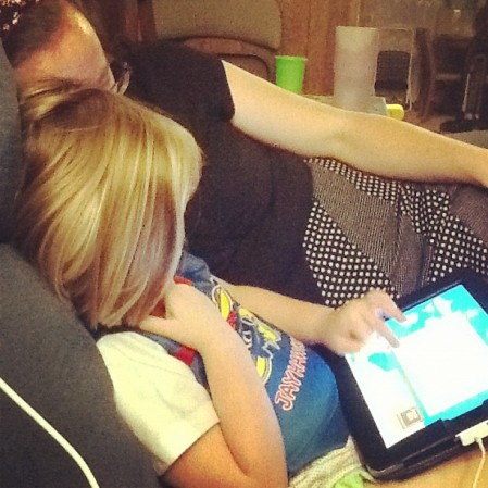 Mommy-Daughter iPad game time.  Instagram