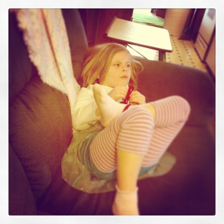 Chillin' before dance class.  - Instagram