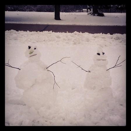 #snow #snowwoman #snowman #kansas  #snowperson  - Instagram