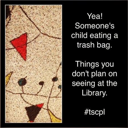 Excuse me... Does anyone know who the child eating the trash bag belongs to?At least i am Nice enough not to take the guys picture!Dude say with your child!#child #tscpl #topeka #badparents  - Instagram