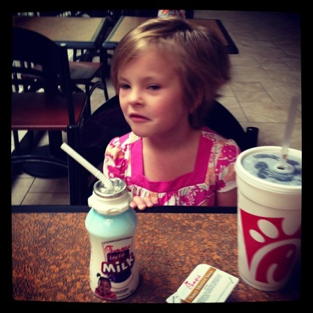 Now quite awake Ms. G, Chick-fil-A. Day before kindergarten.  #food #chicken puffy eyes  - Instagram