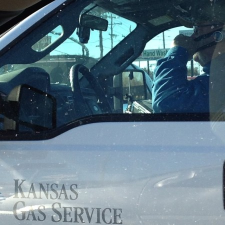 Kansas Gas Service tech out driving around talking on his phone. #kansasgas #oneok #topeka #itcanwait  - Instagram